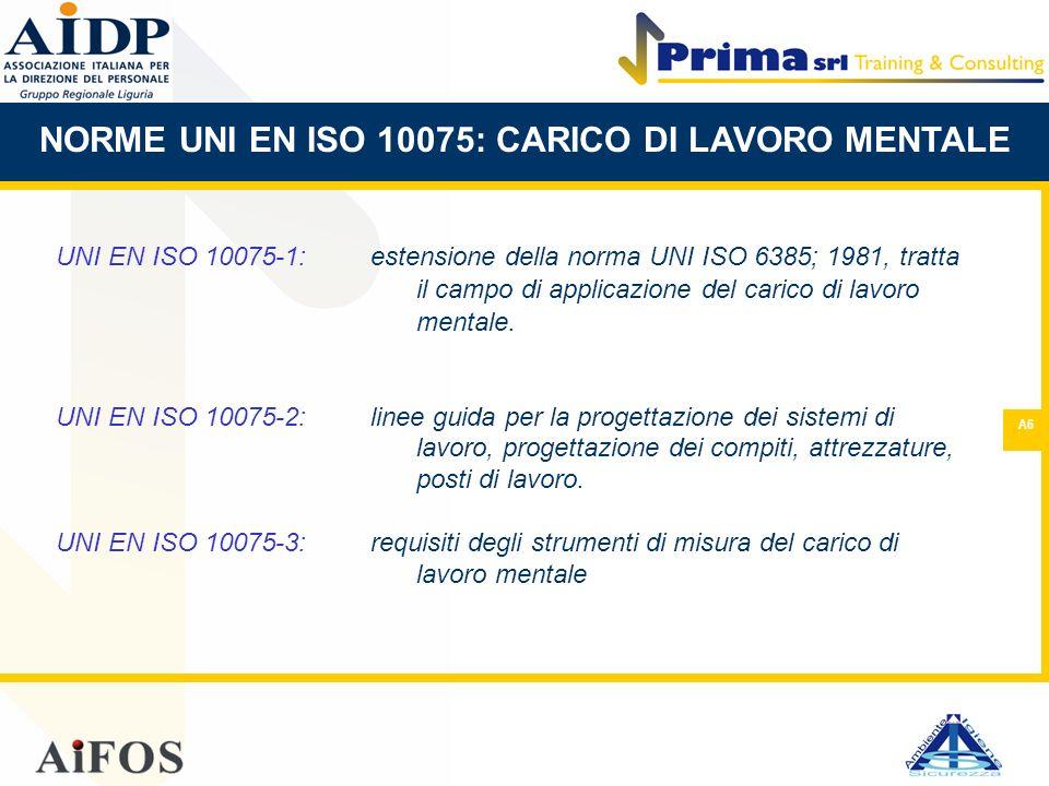 A6 UNI EN ISO 10075-1:estensione della norma UNI ISO 6385; 1981, tratta il campo di applicazione del carico di lavoro mentale. UNI EN ISO 10075-2:line