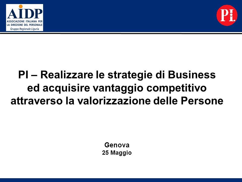 PI – Realizzare le strategie di Business ed acquisire vantaggio competitivo attraverso la valorizzazione delle Persone Genova 25 Maggio