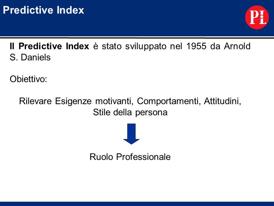 Predictive Index Il Predictive Index è stato sviluppato nel 1955 da Arnold S. Daniels Obiettivo: Rilevare Esigenze motivanti, Comportamenti, Attitudin