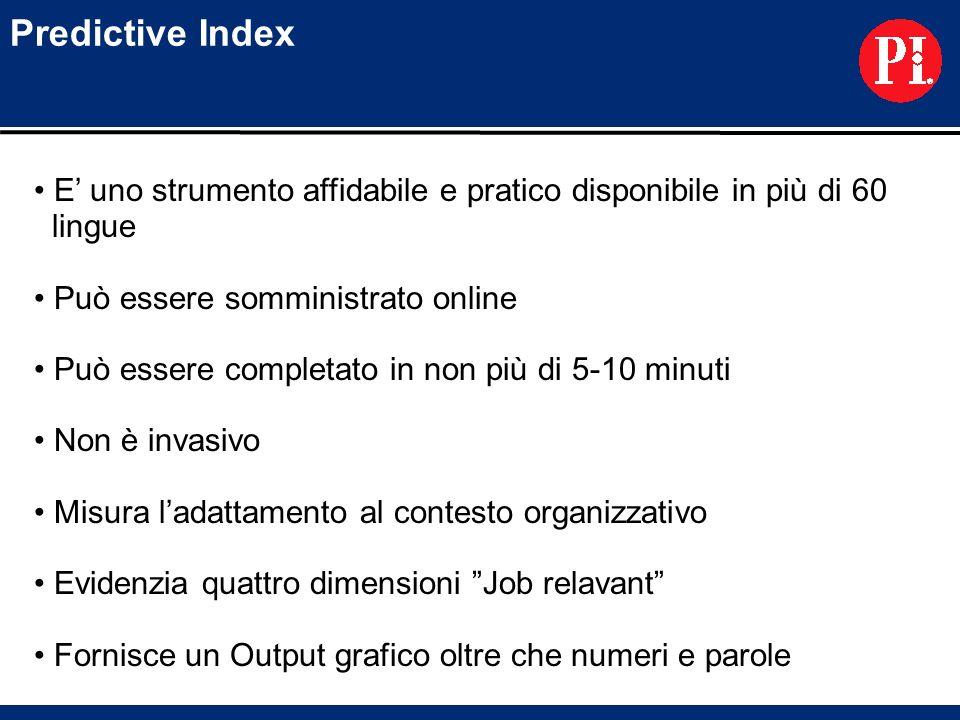 Predictive Index E uno strumento affidabile e pratico disponibile in più di 60 lingue Può essere somministrato online Può essere completato in non più