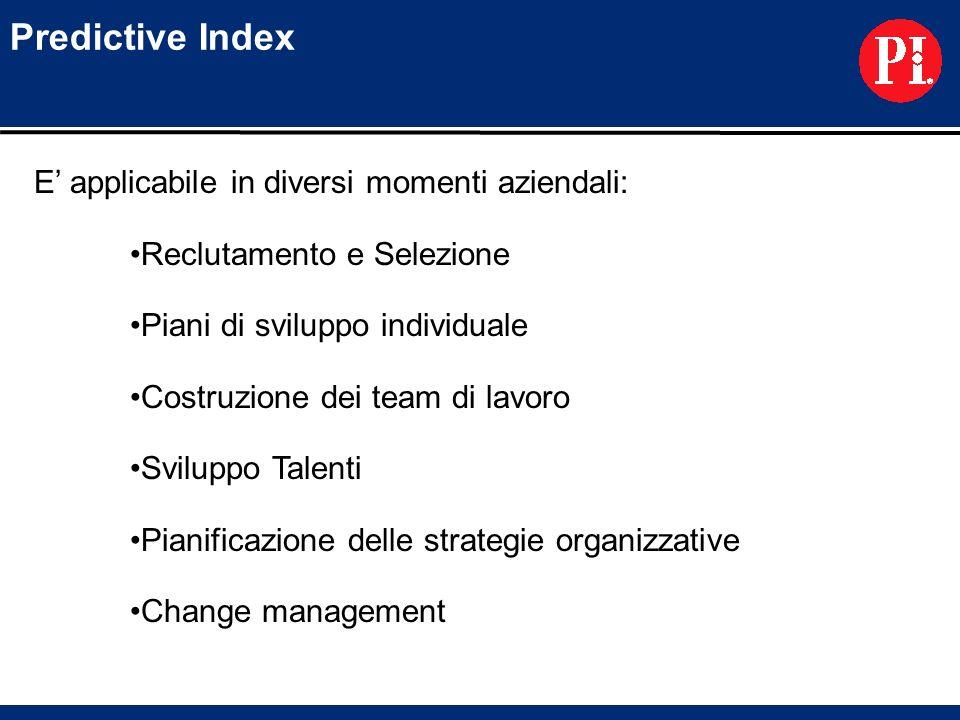 Predictive Index E applicabile in diversi momenti aziendali: Reclutamento e Selezione Piani di sviluppo individuale Costruzione dei team di lavoro Svi