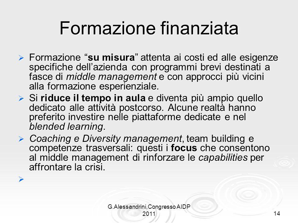 G.Alessandrini,Congresso AIDP 201114 Formazione finanziata Formazione su misura attenta ai costi ed alle esigenze specifiche dellazienda con programmi brevi destinati a fasce di middle management e con approcci più vicini alla formazione esperienziale.