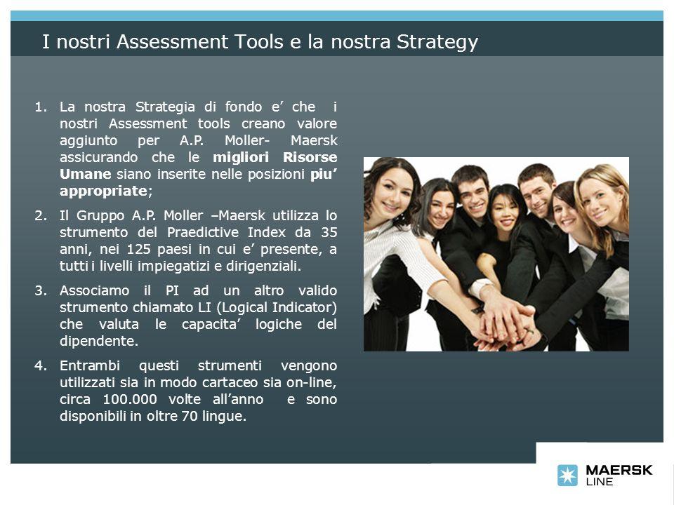 I nostri Assessment Tools e la nostra Strategy 1.La nostra Strategia di fondo e che i nostri Assessment tools creano valore aggiunto per A.P. Moller-