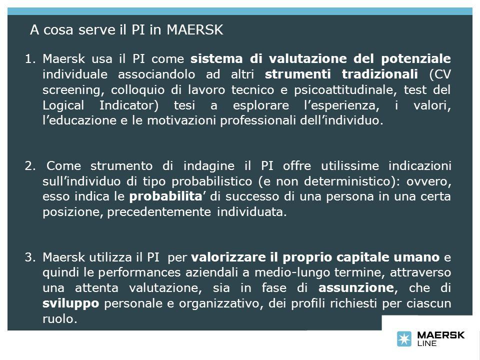 Il PI in Maersk e strumento decisionale che aiuta nel: 1.Definire le mansioni di una data posizione (PRO) che riflettono le effettive esigenze del lavoro; 2.Selezionare/Reclutare le persone giuste; 3.Ottimizzare i Team attraverso profili individuali differenziati; 4.Comunicare/interagire con successo con individui e gruppi; 5.Fare Coaching/Tutoraggio per migliorare la performance, correlando le esigenze motivazionali del singolo a degli obiettivi realistici per quanto riguarda il comportamento e le prestazioni; 6.Gestire eventuali conflitti in modo piu produttivo; 7.Promuovere/Sviluppare le persone che meglio incontrano e rappresentano le esigenze future dellorganizzazione.