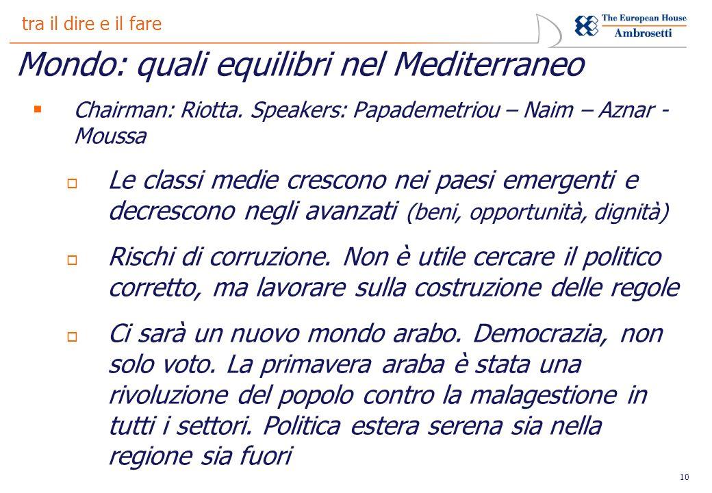 10 tra il dire e il fare Mondo: quali equilibri nel Mediterraneo Chairman: Riotta.