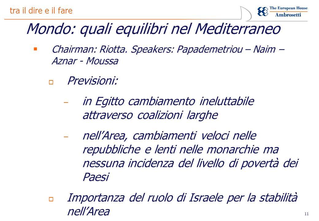 11 tra il dire e il fare Mondo: quali equilibri nel Mediterraneo Chairman: Riotta.