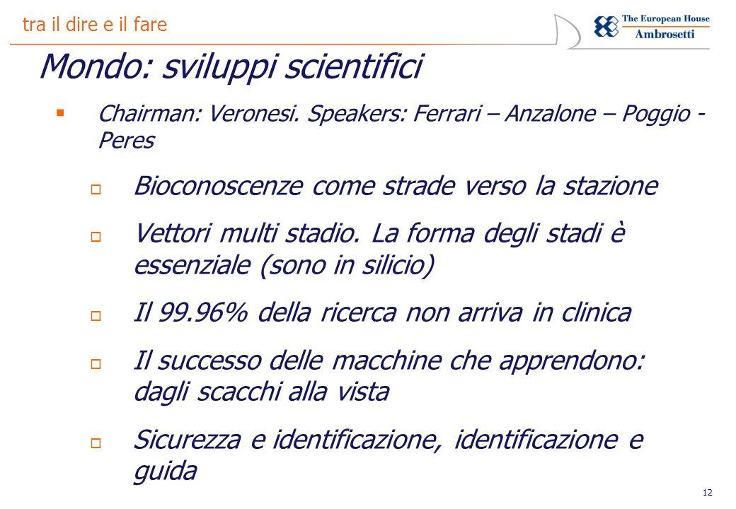 12 tra il dire e il fare Mondo: sviluppi scientifici Chairman: Veronesi.