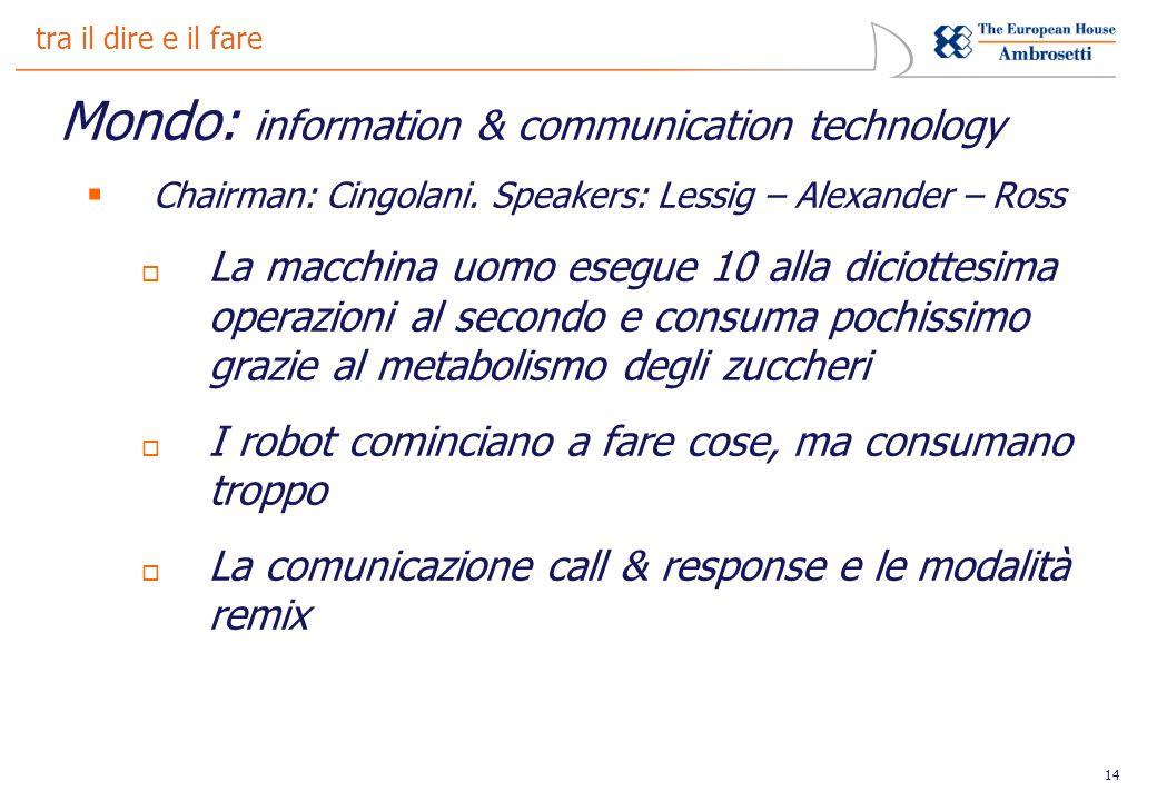 14 tra il dire e il fare Mondo: information & communication technology Chairman: Cingolani. Speakers: Lessig – Alexander – Ross La macchina uomo esegu