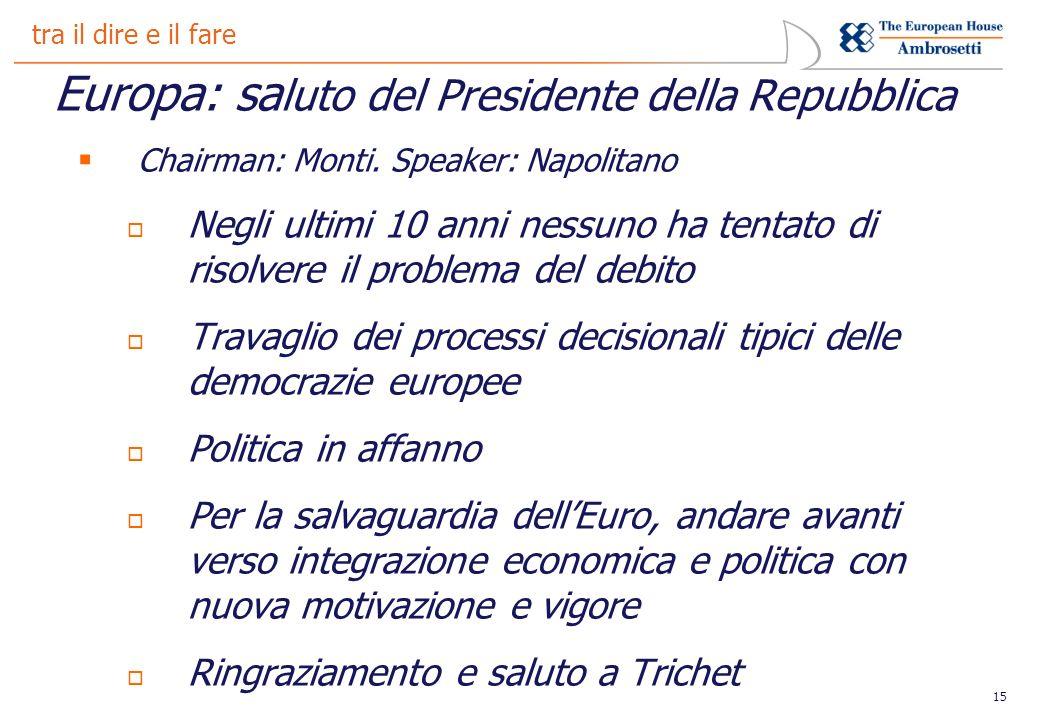 15 tra il dire e il fare Europa: sa luto del Presidente della Repubblica Chairman: Monti.