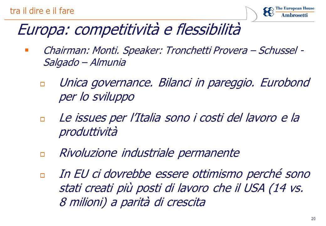 20 tra il dire e il fare Europa: competitività e flessibilità Chairman: Monti.