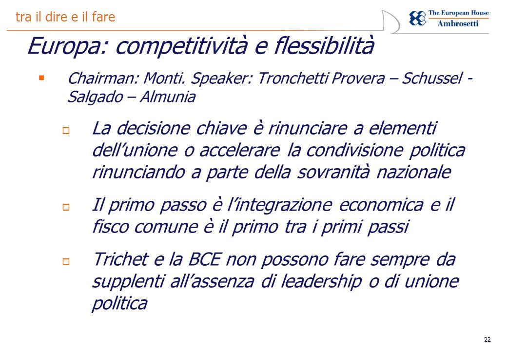 22 tra il dire e il fare Europa: competitività e flessibilità Chairman: Monti.