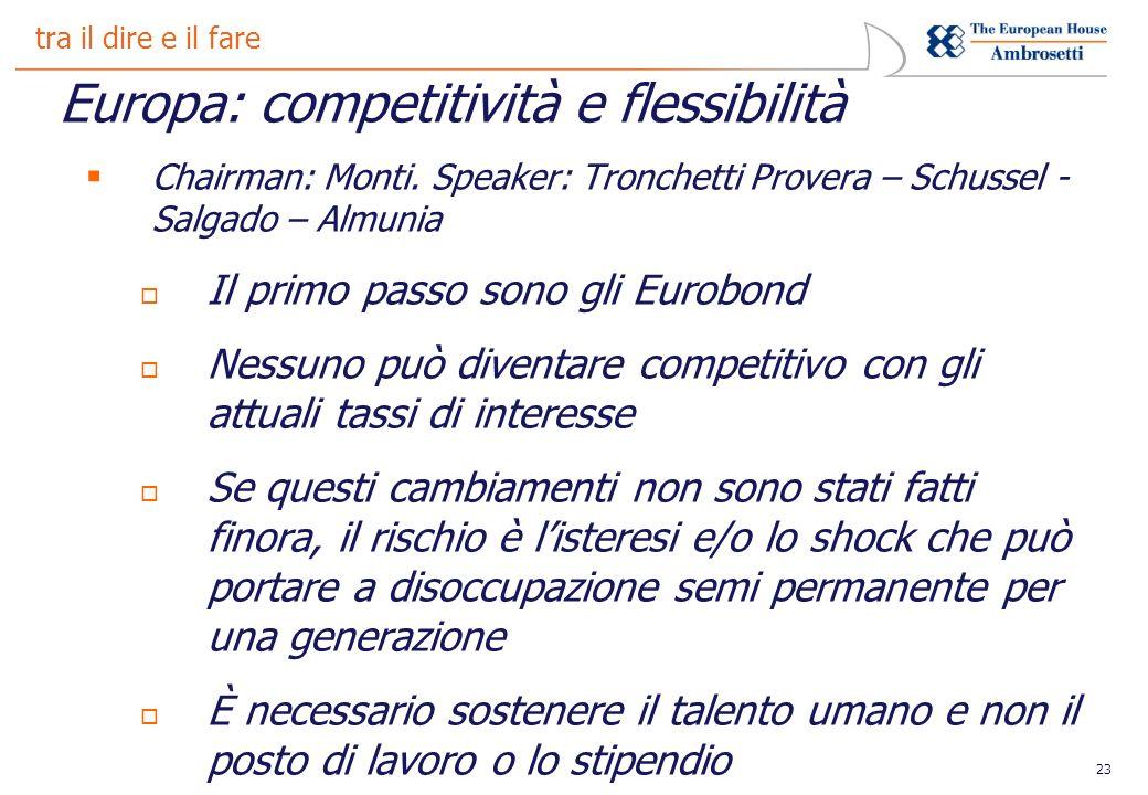 23 tra il dire e il fare Europa: competitività e flessibilità Chairman: Monti.