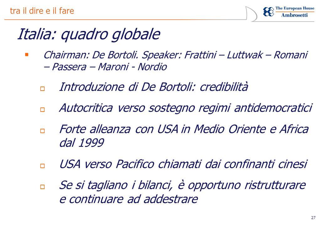 27 tra il dire e il fare Italia: quadro globale Chairman: De Bortoli.