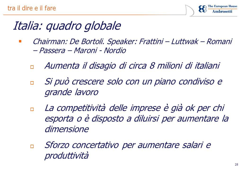 28 tra il dire e il fare Italia: quadro globale Chairman: De Bortoli.