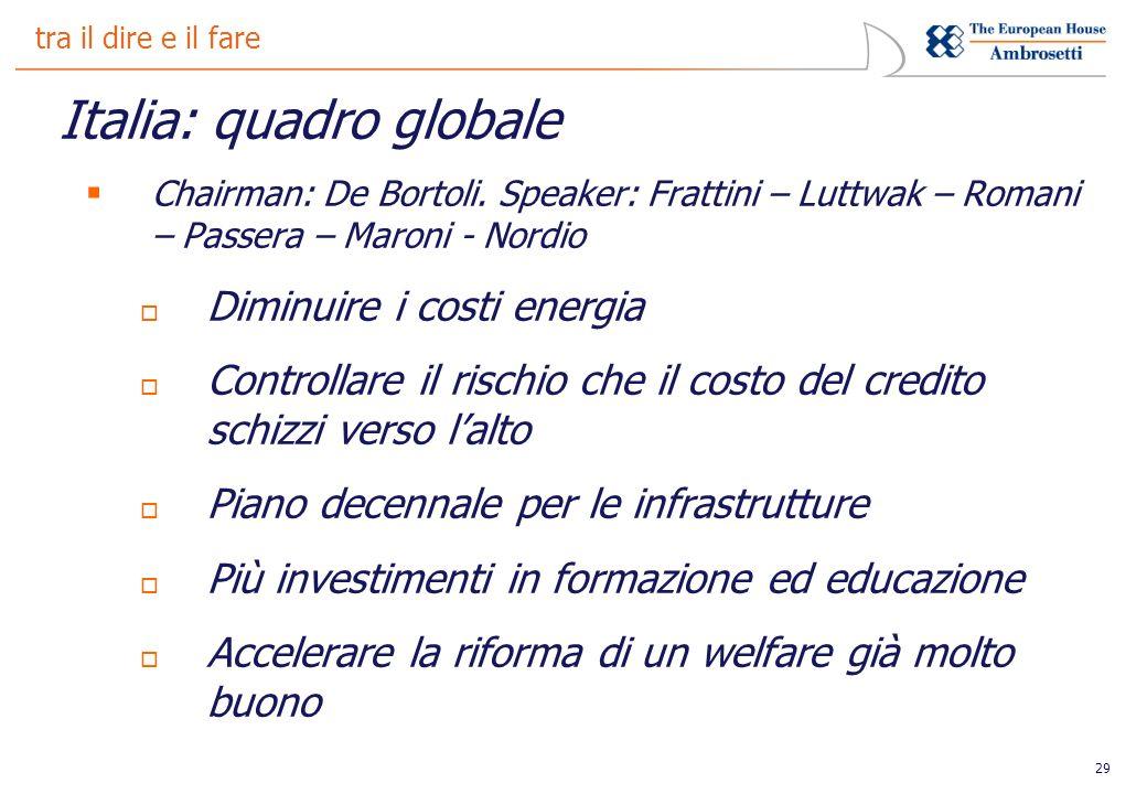 29 tra il dire e il fare Italia: quadro globale Chairman: De Bortoli.