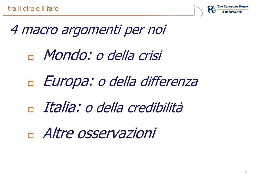3 tra il dire e il fare 4 macro argomenti per noi Mondo: o della crisi Europa: o della differenza Italia: o della credibilità Altre osservazioni