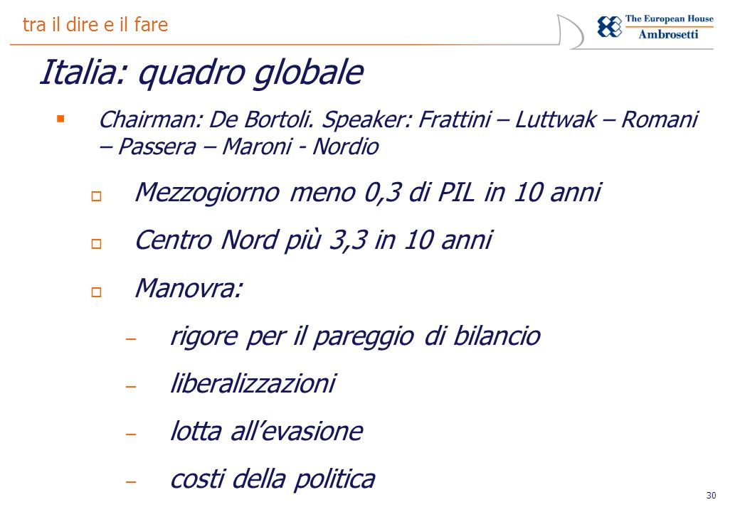 30 tra il dire e il fare Italia: quadro globale Chairman: De Bortoli.