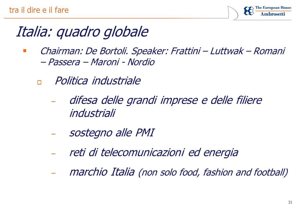 31 tra il dire e il fare Italia: quadro globale Chairman: De Bortoli.