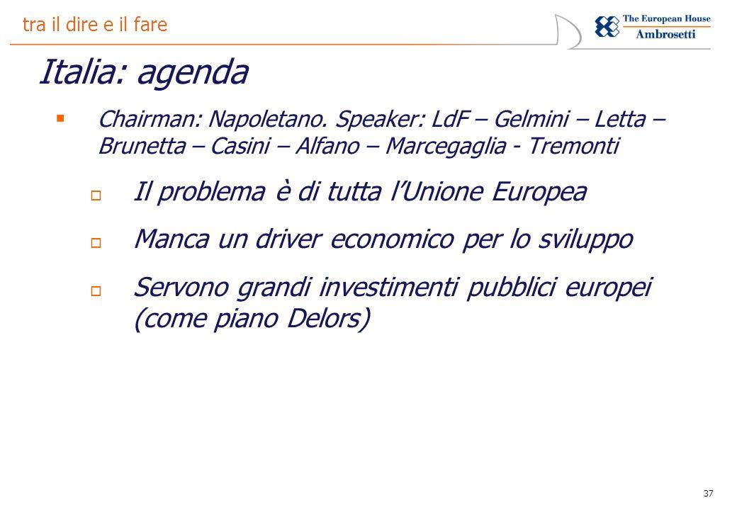 37 tra il dire e il fare Italia: agenda Chairman: Napoletano.
