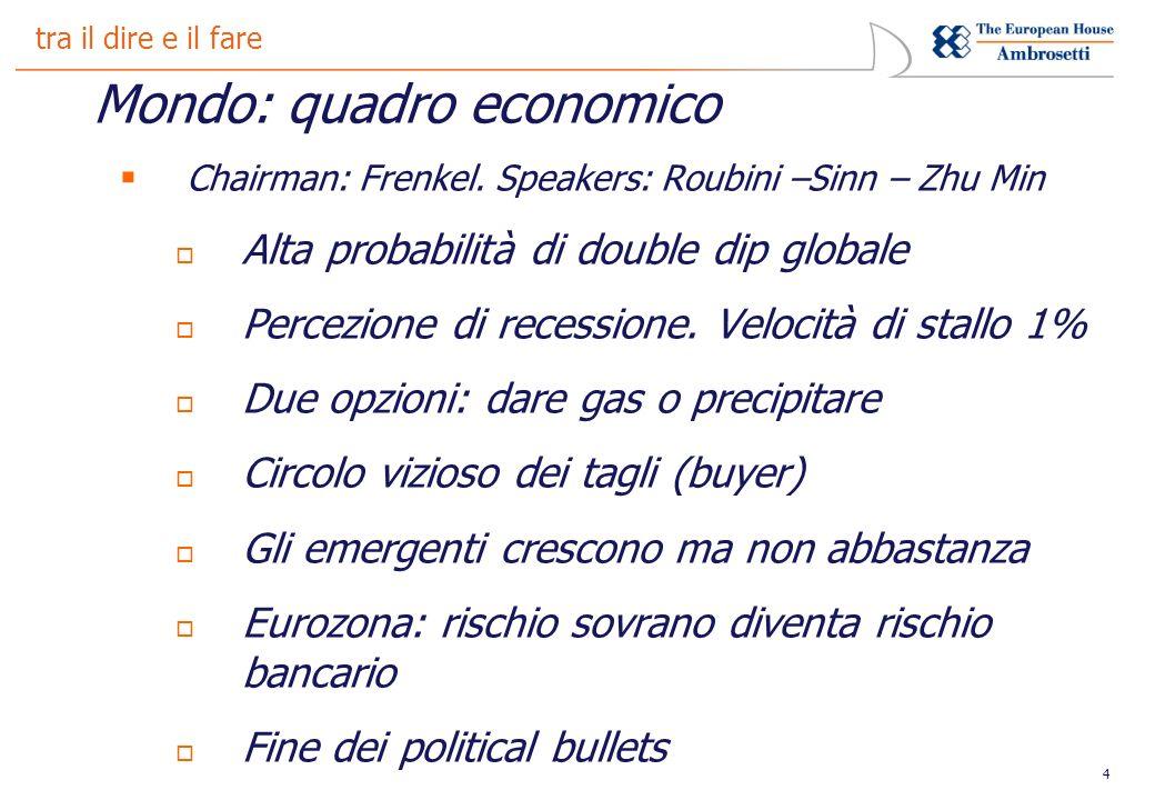 4 tra il dire e il fare Mondo: quadro economico Chairman: Frenkel.
