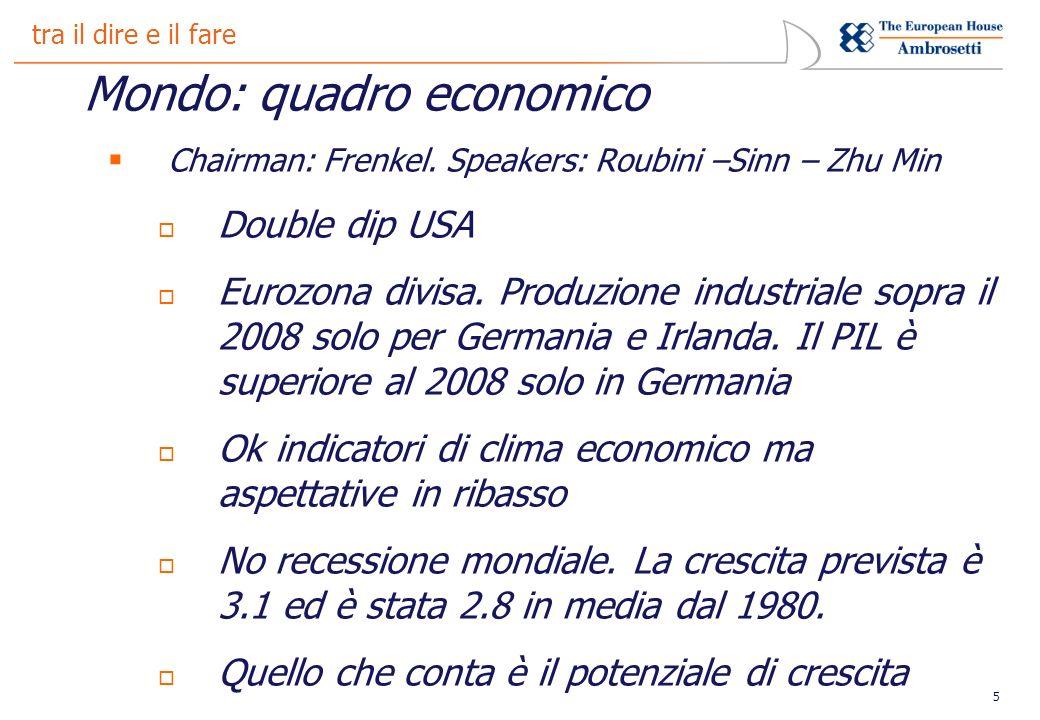 5 tra il dire e il fare Mondo: quadro economico Chairman: Frenkel.