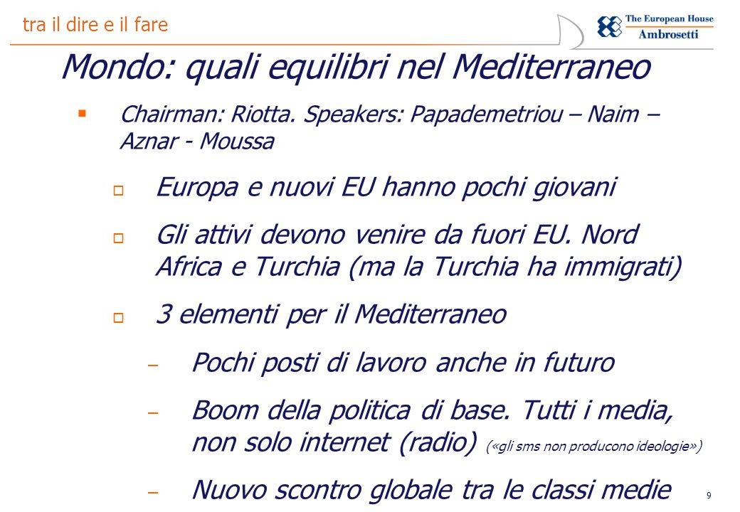 9 tra il dire e il fare Mondo: quali equilibri nel Mediterraneo Chairman: Riotta.