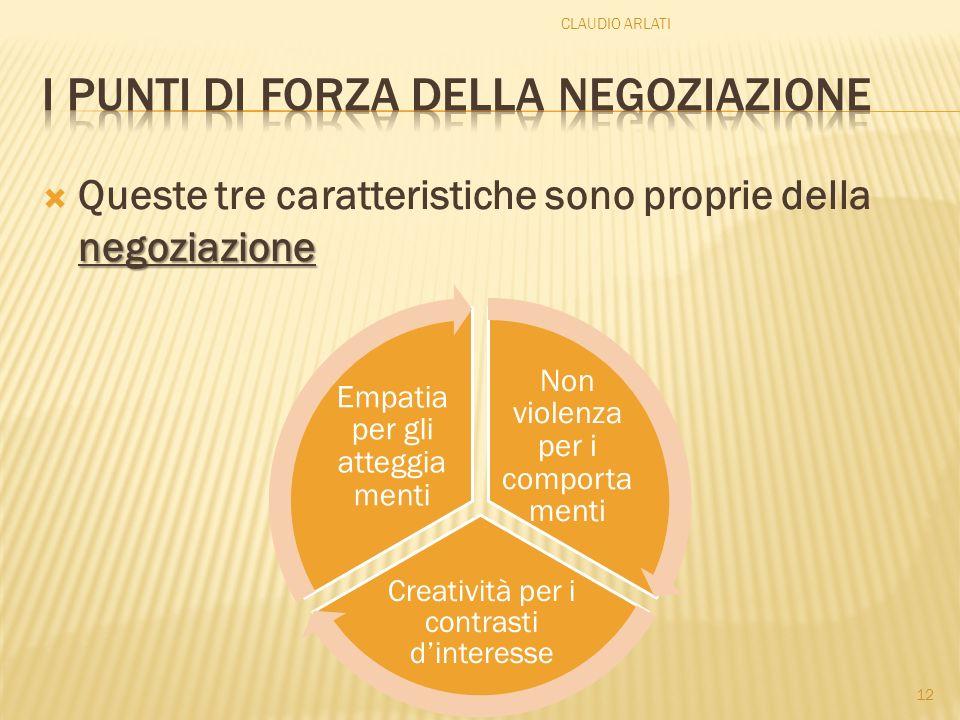 negoziazione Queste tre caratteristiche sono proprie della negoziazione 12 CLAUDIO ARLATI Non violenza per i comporta menti Creatività per i contrasti