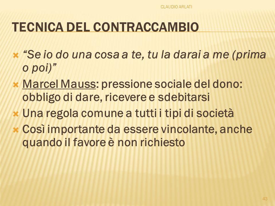 TECNICA DEL CONTRACCAMBIO Se io do una cosa a te, tu la darai a me (prima o poi) Marcel Mauss: pressione sociale del dono: obbligo di dare, ricevere e