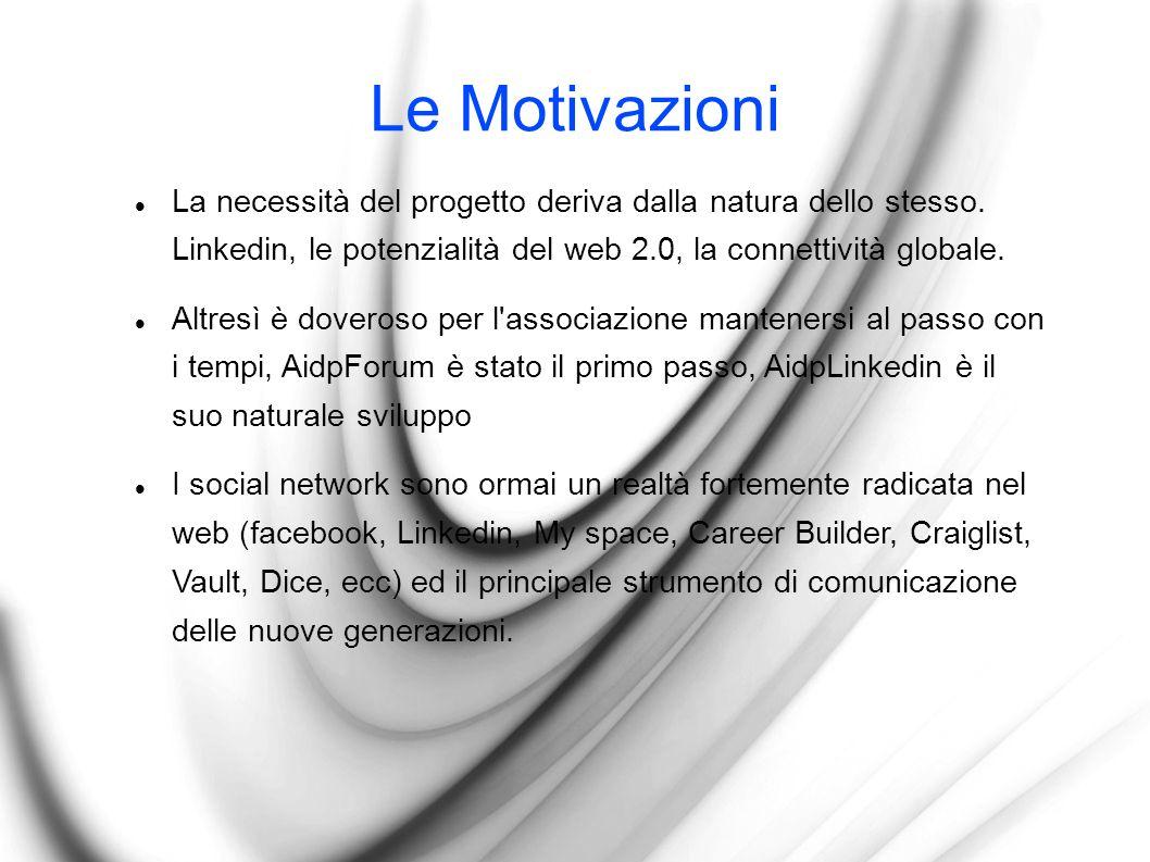 Le Motivazioni La necessità del progetto deriva dalla natura dello stesso.