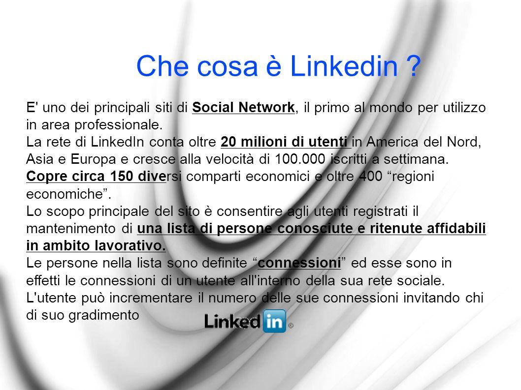 Che cosa è Linkedin ? E' uno dei principali siti di Social Network, il primo al mondo per utilizzo in area professionale. La rete di LinkedIn conta ol