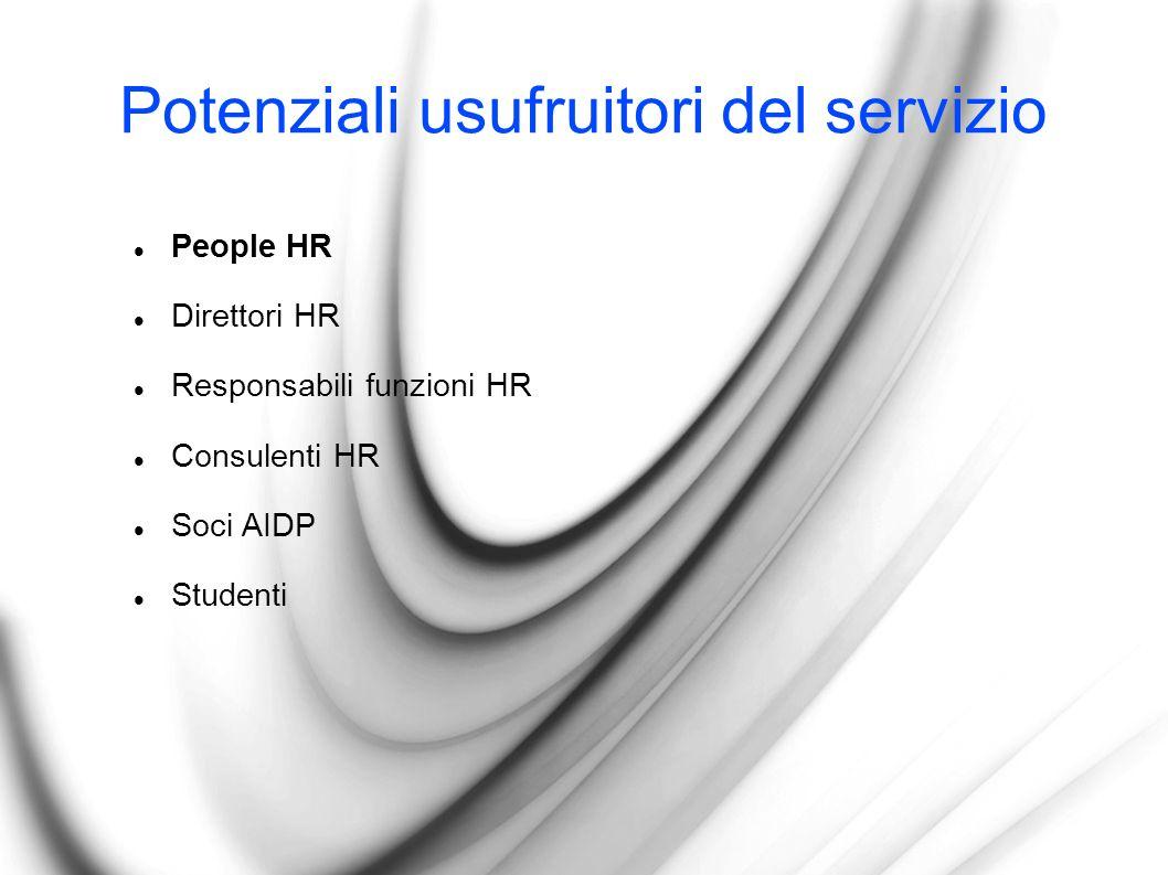 Potenziali usufruitori del servizio People HR Direttori HR Responsabili funzioni HR Consulenti HR Soci AIDP Studenti