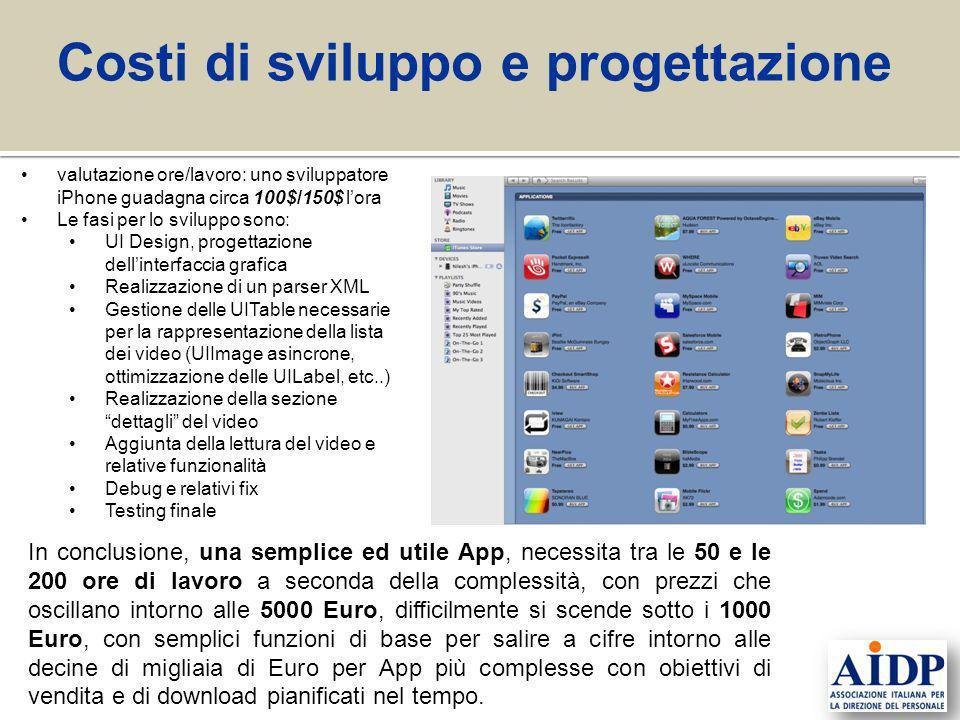valutazione ore/lavoro: uno sviluppatore iPhone guadagna circa 100$/150$ lora Le fasi per lo sviluppo sono: UI Design, progettazione dellinterfaccia g
