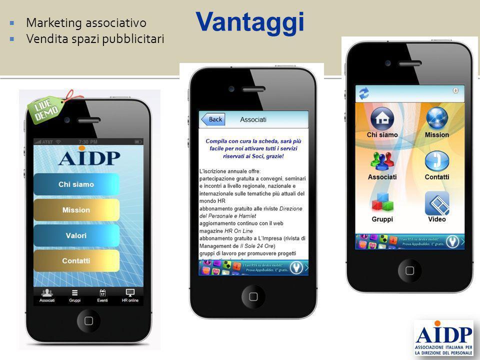 Marketing associativo Vendita spazi pubblicitari Vantaggi