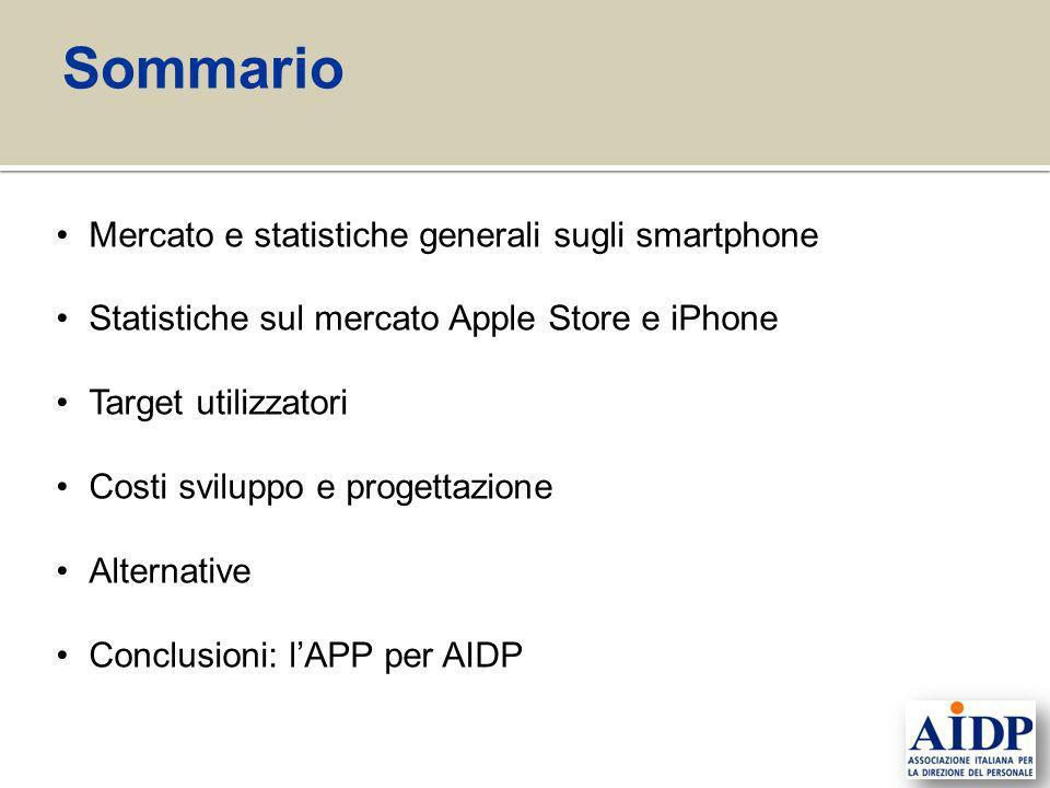 Mercato e statistiche generali sugli smartphone Statistiche sul mercato Apple Store e iPhone Target utilizzatori Costi sviluppo e progettazione Altern