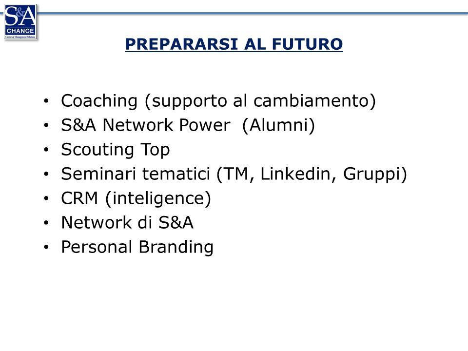 PREPARARSI AL FUTURO Coaching (supporto al cambiamento) S&A Network Power (Alumni) Scouting Top Seminari tematici (TM, Linkedin, Gruppi) CRM (inteligence) Network di S&A Personal Branding