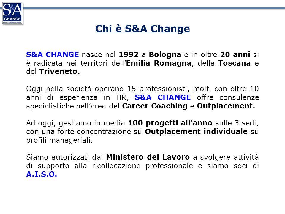 S&A CHANGE nasce nel 1992 a Bologna e in oltre 20 anni si è radicata nei territori dellEmilia Romagna, della Toscana e del Triveneto.