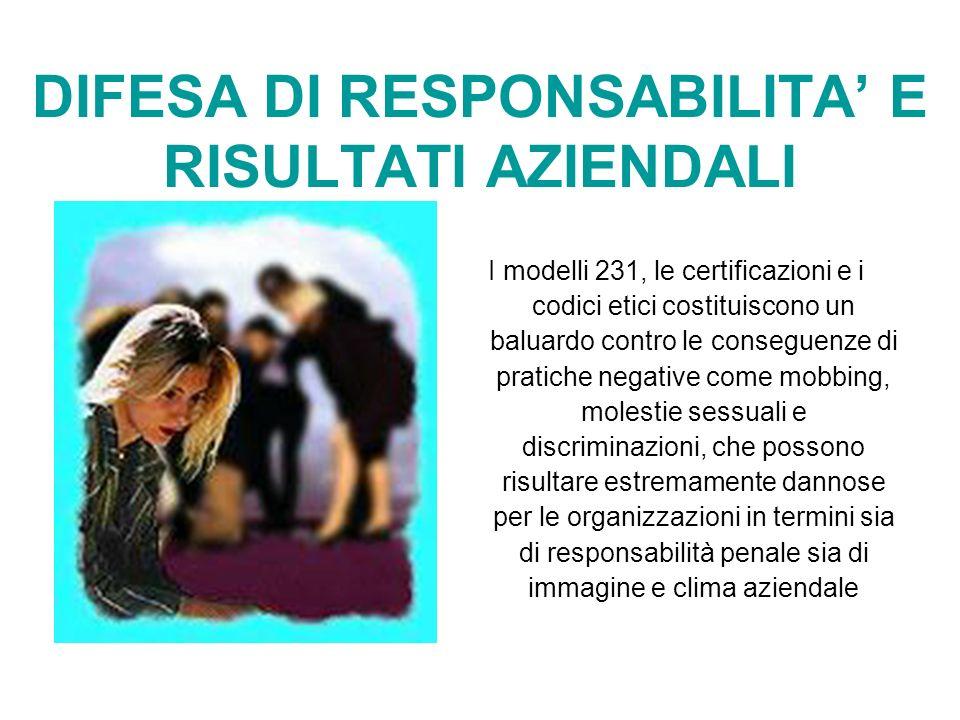 DIFESA DI RESPONSABILITA E RISULTATI AZIENDALI I modelli 231, le certificazioni e i codici etici costituiscono un baluardo contro le conseguenze di pr