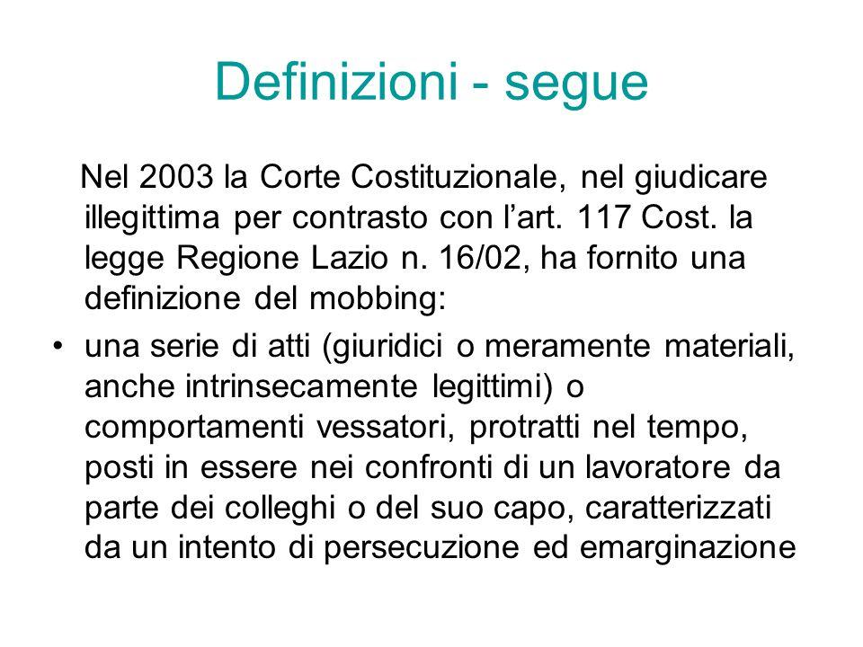 Definizioni - segue Nel 2003 la Corte Costituzionale, nel giudicare illegittima per contrasto con lart. 117 Cost. la legge Regione Lazio n. 16/02, ha