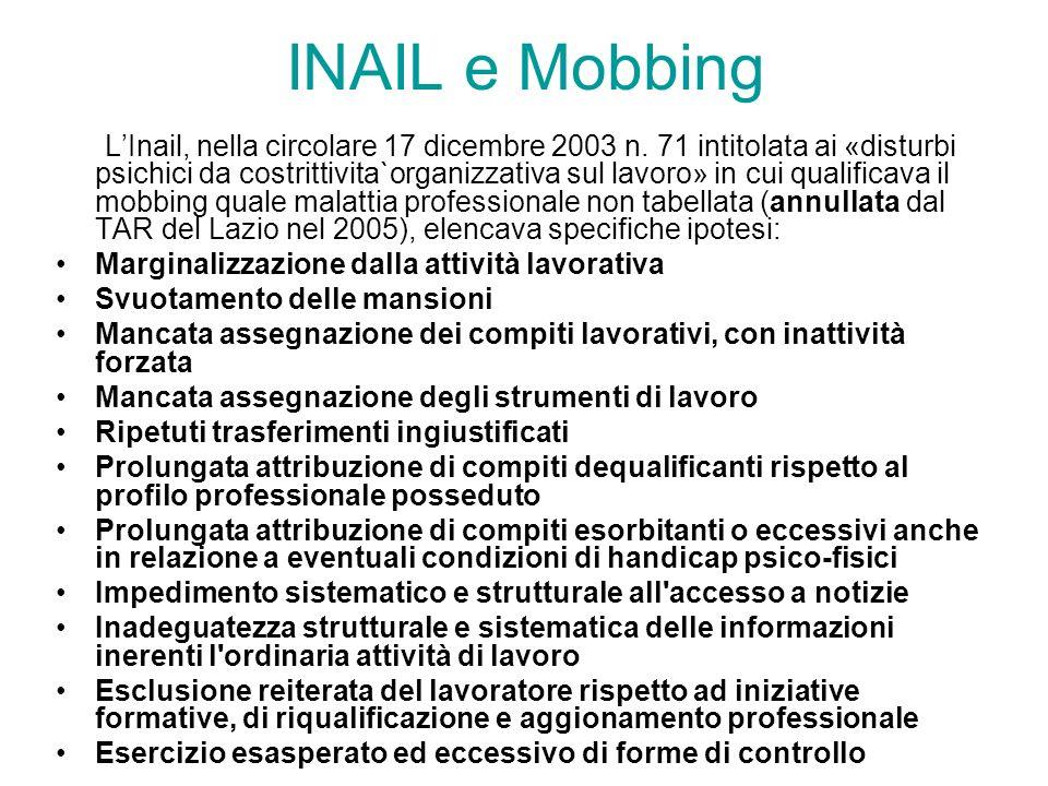 INAIL e Mobbing LInail, nella circolare 17 dicembre 2003 n. 71 intitolata ai «disturbi psichici da costrittivita`organizzativa sul lavoro» in cui qual