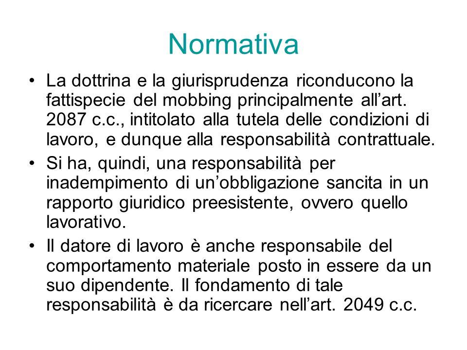 Normativa La dottrina e la giurisprudenza riconducono la fattispecie del mobbing principalmente allart. 2087 c.c., intitolato alla tutela delle condiz