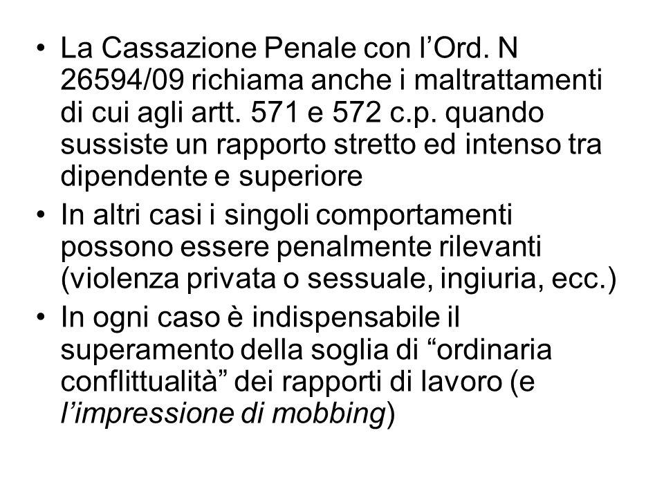 La Cassazione Penale con lOrd. N 26594/09 richiama anche i maltrattamenti di cui agli artt. 571 e 572 c.p. quando sussiste un rapporto stretto ed inte