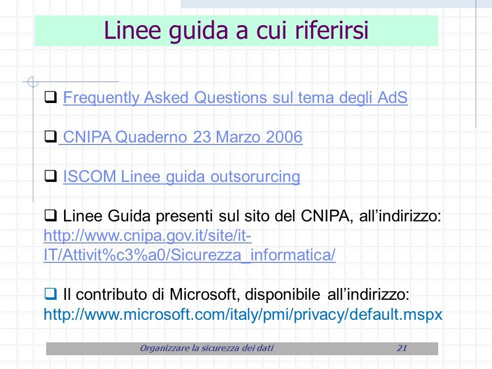 Linee guida a cui riferirsi Frequently Asked Questions sul tema degli AdS CNIPA Quaderno 23 Marzo 2006 CNIPA Quaderno 23 Marzo 2006 ISCOM Linee guida