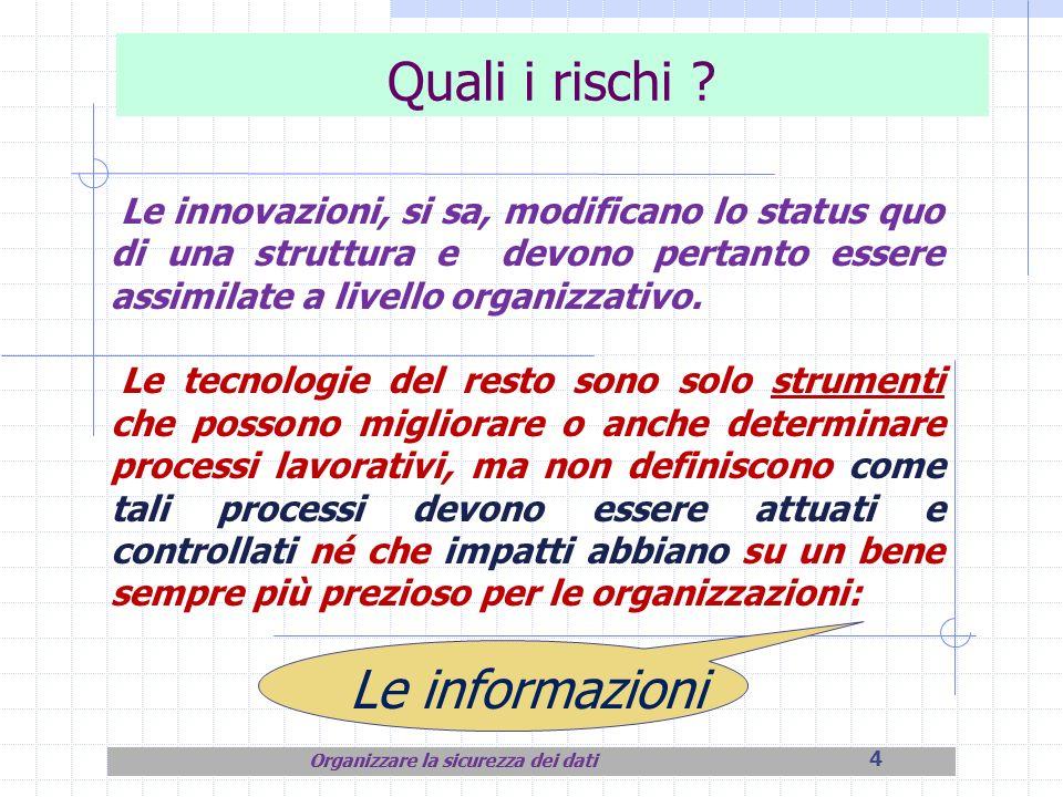 4 Quali i rischi ? Le innovazioni, si sa, modificano lo status quo di una struttura e devono pertanto essere assimilate a livello organizzativo. Le te