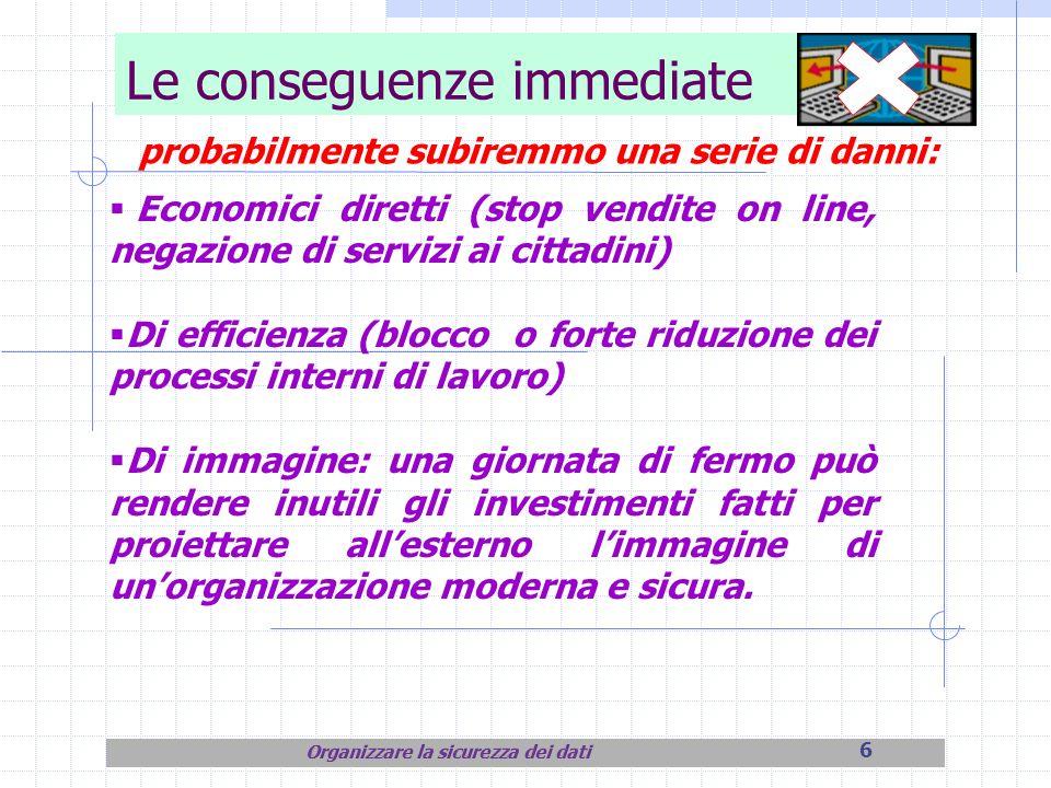 6 Le conseguenze immediate probabilmente subiremmo una serie di danni: Economici diretti (stop vendite on line, negazione di servizi ai cittadini) Di