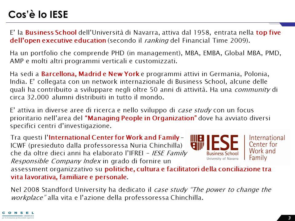 3 Cosè lo IESE E la Business School dellUniversità di Navarra, attiva dal 1958, entrata nella top five dellopen executive education (secondo il ranking del Financial Time 2009).