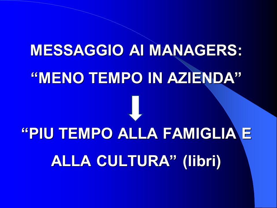 MESSAGGIO AI MANAGERS: MENO TEMPO IN AZIENDA PIU TEMPO ALLA FAMIGLIA E ALLA CULTURA (libri)