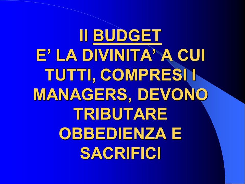 Il BUDGET E LA DIVINITA A CUI TUTTI, COMPRESI I MANAGERS, DEVONO TRIBUTARE OBBEDIENZA E SACRIFICI