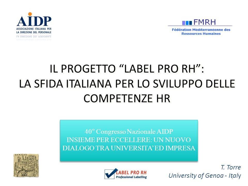 1 IL PROGETTO LABEL PRO RH: LA SFIDA ITALIANA PER LO SVILUPPO DELLE COMPETENZE HR T.