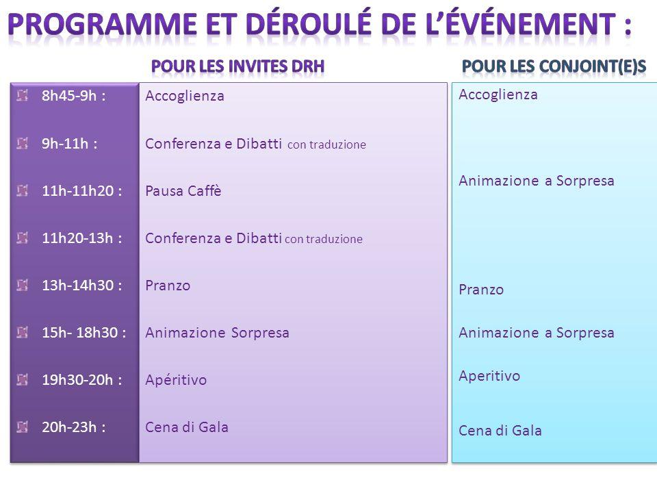 8h45-9h : 9h-11h : 11h-11h20 : 11h20-13h : 13h-14h30 : 15h- 18h30 : 19h30-20h : 20h-23h : 8h45-9h : 9h-11h : 11h-11h20 : 11h20-13h : 13h-14h30 : 15h- 18h30 : 19h30-20h : 20h-23h : Accoglienza Conferenza e Dibatti con traduzione Pausa Caffè Conferenza e Dibatti con traduzione Pranzo Animazione Sorpresa Apéritivo Cena di Gala Accoglienza Conferenza e Dibatti con traduzione Pausa Caffè Conferenza e Dibatti con traduzione Pranzo Animazione Sorpresa Apéritivo Cena di Gala Accoglienza Animazione a Sorpresa Pranzo Animazione a Sorpresa Aperitivo Cena di Gala Accoglienza Animazione a Sorpresa Pranzo Animazione a Sorpresa Aperitivo Cena di Gala