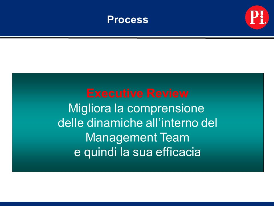 Process Executive Review Migliora la comprensione delle dinamiche allinterno del Management Team e quindi la sua efficacia
